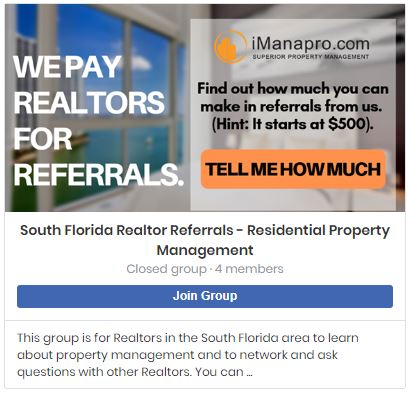Photo of our facebook group for realtors
